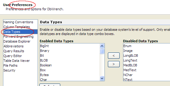 Enable Database Specific Data Types