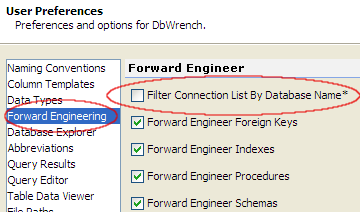 Filter Database Connections by Database Name